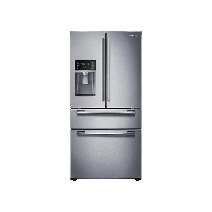 """Samsung RF25HMEDB 25 Cu. Ft. Capacity 33"""" Wide 4-Door French Door Refrigerator w Stainless Steel Refrigerators French Door Fridge"""