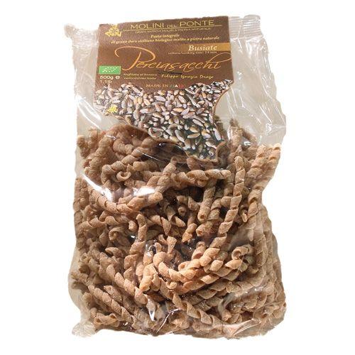 Pasta di semola integrale digrano duro di Sicilia varietàPerciasacchi molito a pietranaturale.  Cottura:14 minuti