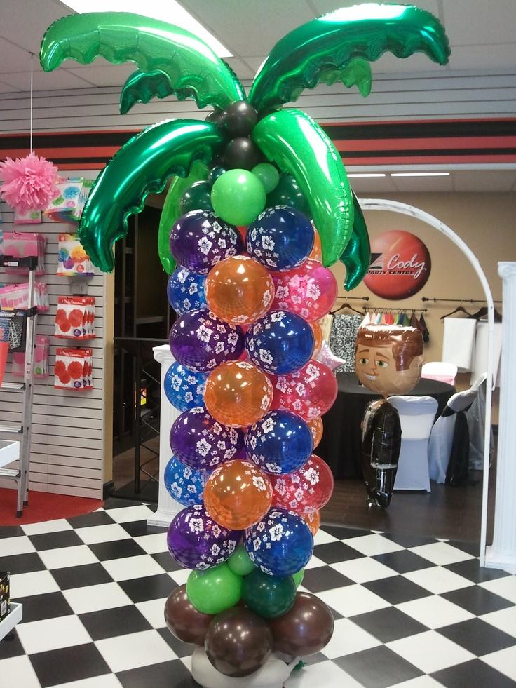 Balloon palm tree luau party balloon decoration ballons for Decoration balloon