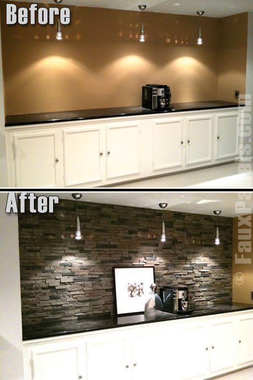 I like the look of the wall after the stone is done. I think it could work as a backsplash or accent wall.    Faux paneled stone Basement back wall