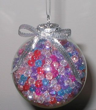 These Christmas decorations are so easy! Just fill with colored beads, and done!