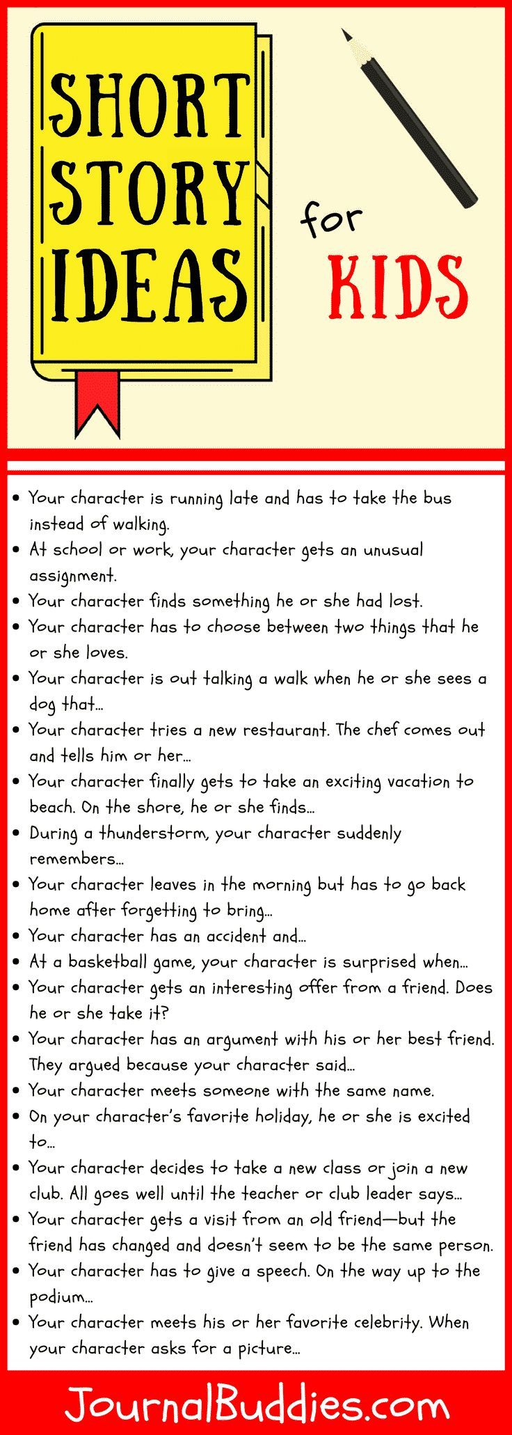 Short Story Ideas for Kids  Writing prompts for kids, Writing