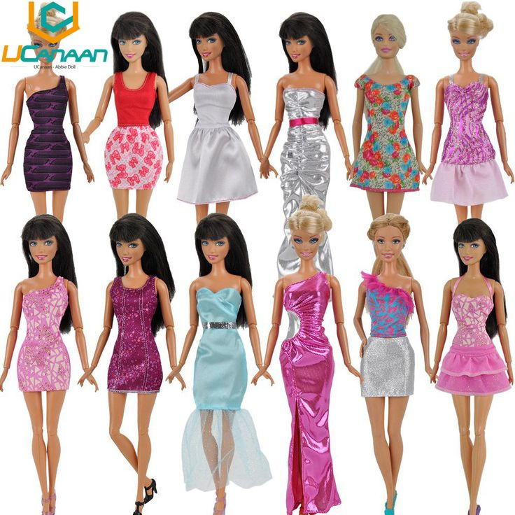 UCanaan Randomly Lot 20 Pcs = 10 Shoes +10 Sets Fashion Outfit Blouse Trousers Dress Shorts Pants Skirt Clothes For Barbie Doll