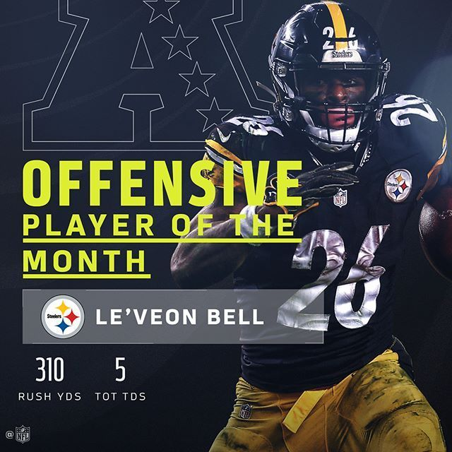 """323 Likes, 4 Comments - Pittsburgh Steelers Fans (@steelers_fans__club) on Instagram: """"#leveonbell #26 December's AFC Players of the Month! (SWIPE) 310 Rush Yards 5 TouchDowns #repost…"""""""