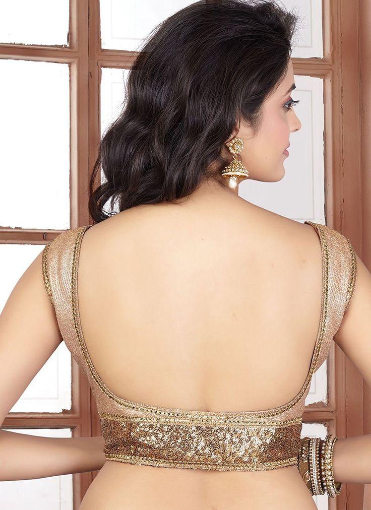 Beige Art Silk Plus Size Blouse