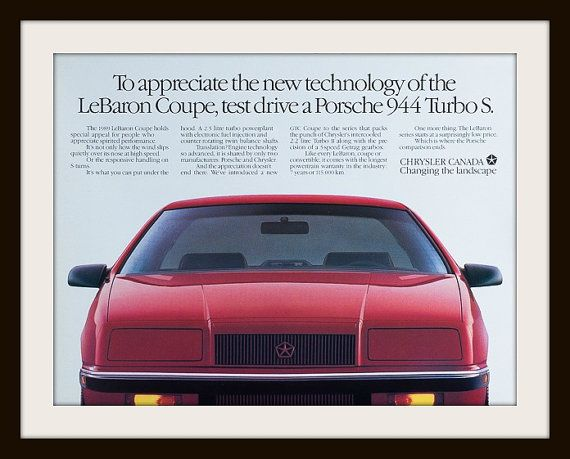 1989 Chrysler LeBaron Coupe advertisement. by vintageadsnprints