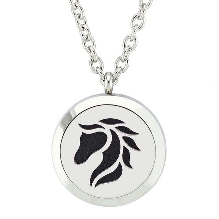 Stainless Steel Horse Essential Oil Diffuser Necklace - Includes 5 Reusable Felt Pads