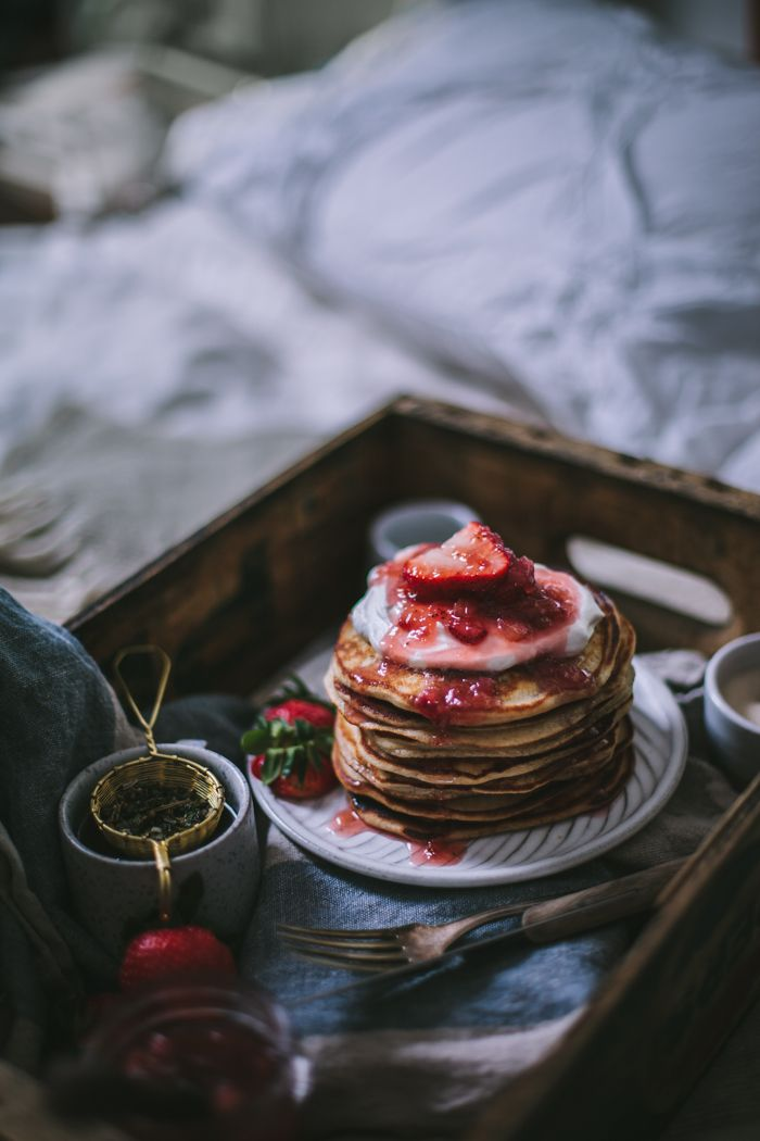 Goat Cheese Marscarpone Vanilla Bean Pancakes by Eva Kosmas Flores | Adventures in Cooking