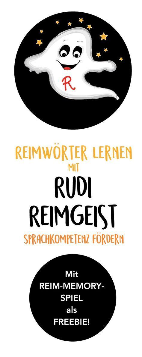 """Sprachkompetenz fördern mit """"Rudi Reimgeist"""" und seinem Memory Spiel zum Reimwörter lernen. Eine Beschäftigung für Kleinkinder und Kinder in Kita, Kindergarten, Vorschule und Grundschule. Mit Freebie zum Ausdrucken und Ausmalen. Von """"Hallo liebe Wolke"""" zu Halloween! Huibuh! ;) #Kindergarten #Printable #Halloween #Sprachkompetenz #Reime #Reimwörter #Memory #DIY"""