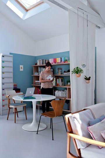 Un rideau aérien en guise de cloison chez Caroline Gomez chez Côté Maison