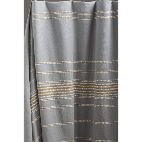 Inviting Design Modern Shower Curtains Ideas Come with Gray Gold Colors Stripes Pattern Shower Curtain and Chromed Metal Curtain Rod for Alluring Modern Shower Curtains Ideas