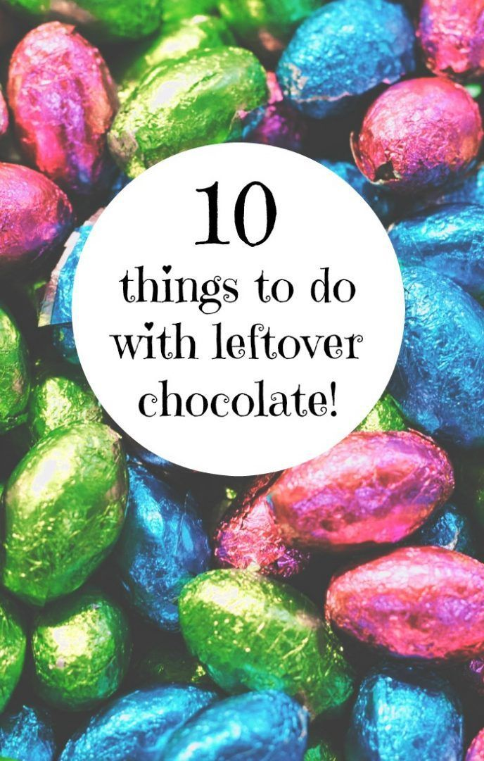 10 things to do with leftover chocolate....  From chocolate cake to chocolate chip cookies and from chocolate bark to chocolate sauce - it's all covered here....