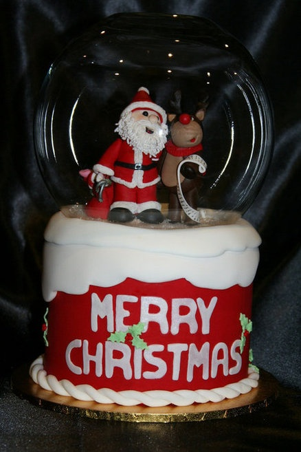 """Christmas """"snow globe"""" cake  Cake by Michelle Amore Cakes"""