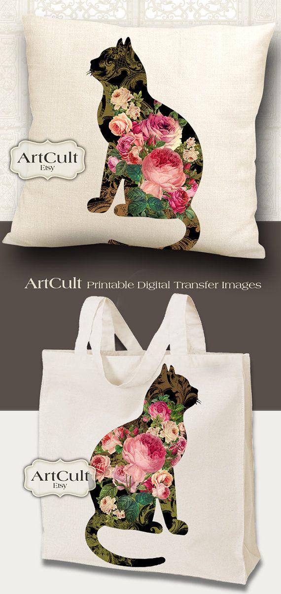 2 digital hojas ROSE GARDEN gatos para imprimir imágenes a imprimir en tela…                                                                                                                                                                                 Más