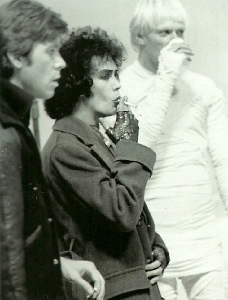Tim Curry on a smoke break from Rocky Horror Picture Show