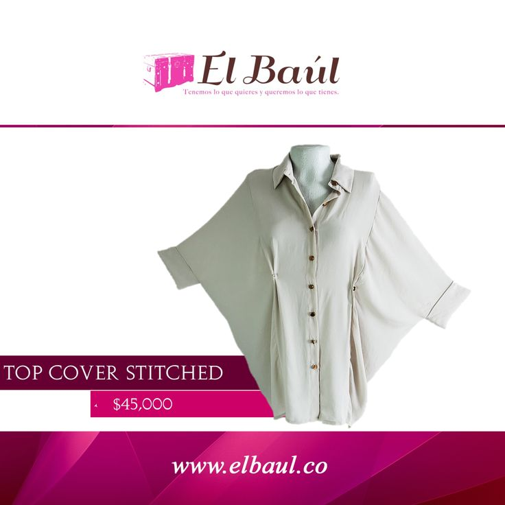 Top Cover Stitched, perfecto para usarlo con coloresbeige, café y verde  $45,000  http://elbaul.co/Productos/452/Top-Cover-Stitched-beige--