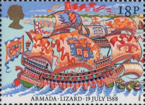 400th Anniversary of Spanish Armada 18p Stamp (1988) Spanish Galeasse off The Lizard