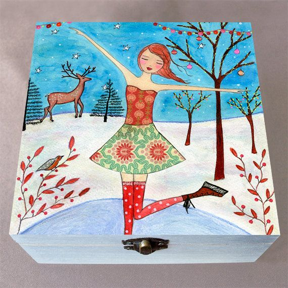Christmas Skater Large Jewelry Box Trinket Box by Sascalia on Etsy