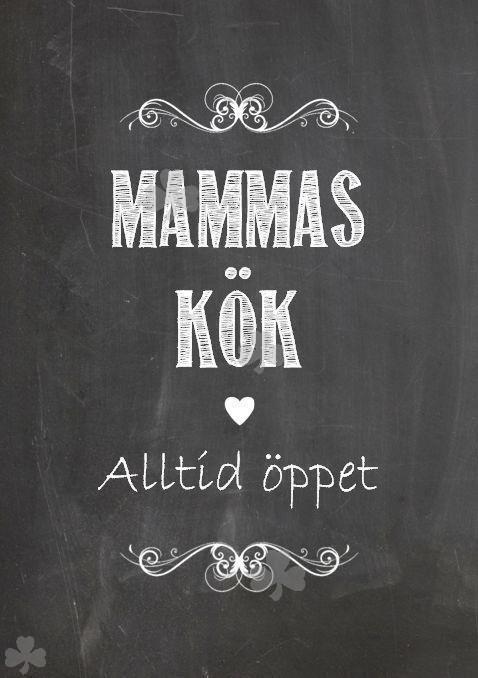 Poster Tavla, MAMMAS KÖK, krittavla, Shabby Lantlig