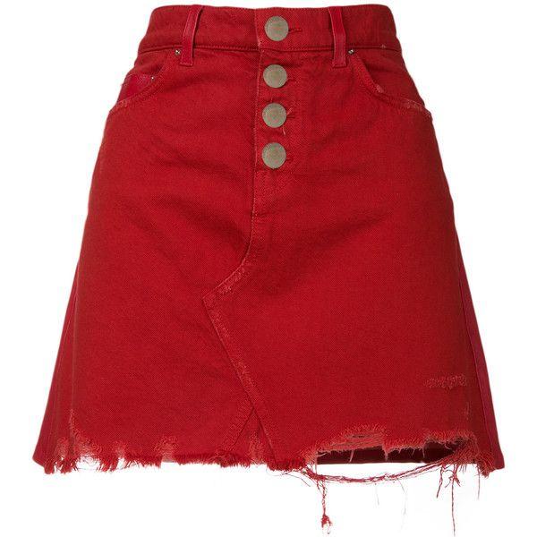 Amiri raw denim A-line mini skirt ($1,298) ❤ liked on Polyvore featuring skirts, mini skirts, red, red mini skirt, a line denim skirt, amiri, short a line skirt and denim mini skirts