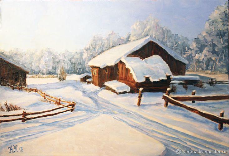Картина маслом в раме. Пейзаж Мороз – купить в интернет-магазине на Ярмарке Мастеров с доставкой