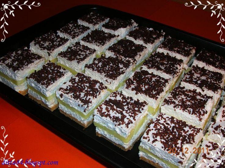 Hozzávalók:  1 réteg:  30dkg darált keksz(1-2ek a tepsi aljába) 5dkg vaj 5dkg porcukor  2 réteg:  5-6ek sárgabaracklekvár   3 réteg:  25dkg túró 4ek porcukor 2cs vaníliás…