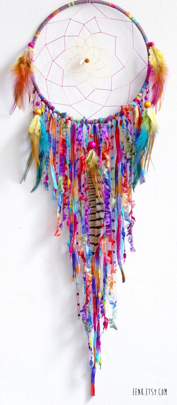 Diy dreamcatcher with pieces of fabric, dome beads and some feathers #home #interior #boho #bohemian