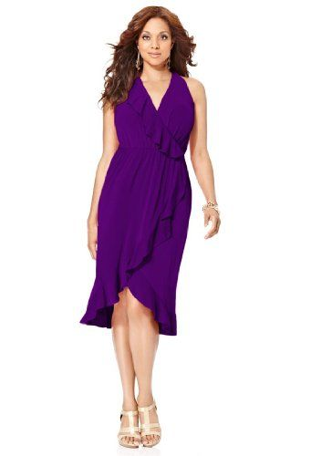 Avenue Plus Size Ruffle Trim Hi Low Dress