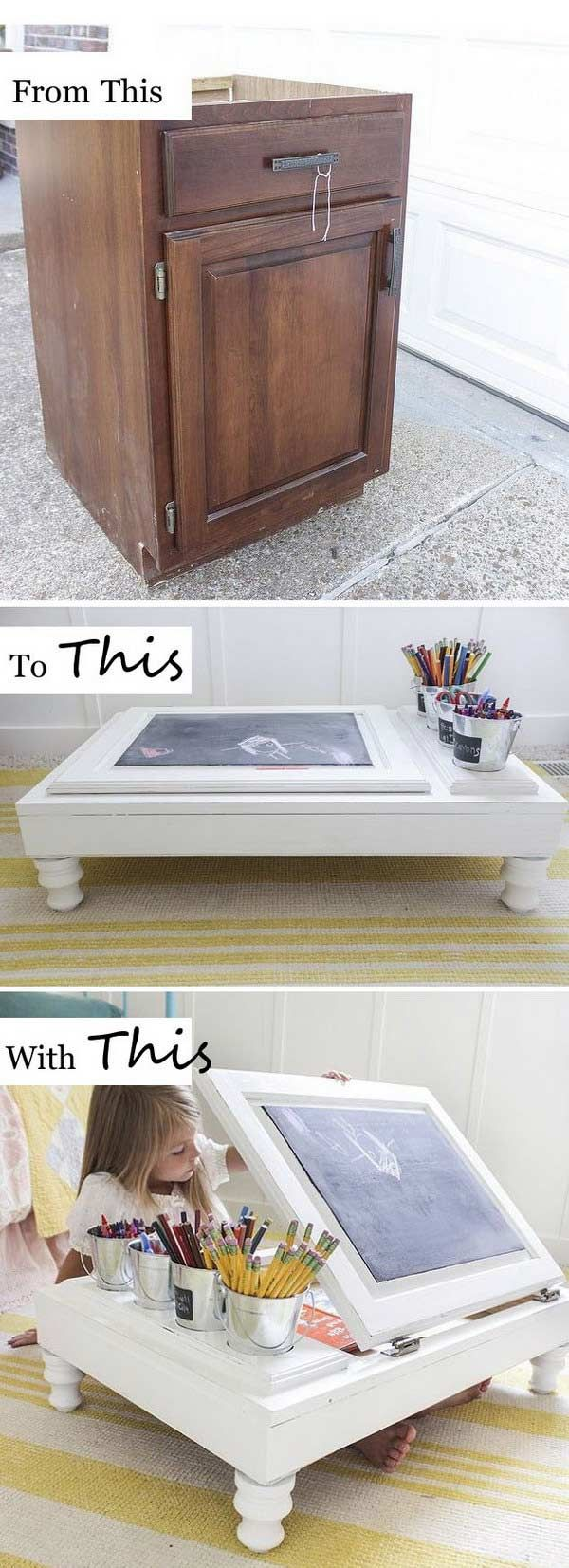 Child's Desk Rebuilt From a Kitchen Cabinet - Awesome and Low-budget Ways To Re-purpose Old Furniture