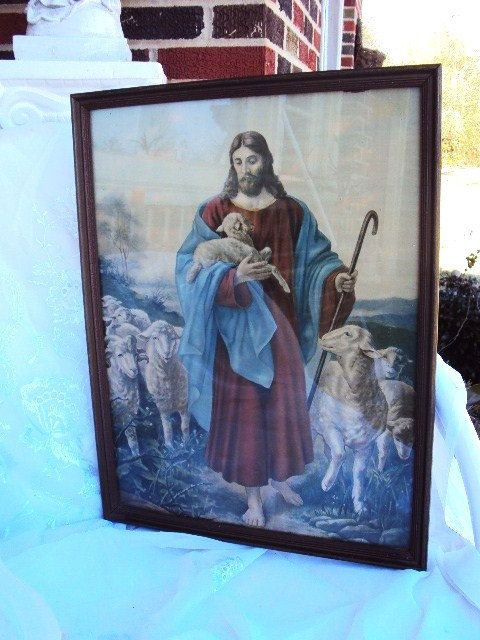 Vintage Religious Picture of Jesus Christ by primitivepincushion, $45.99