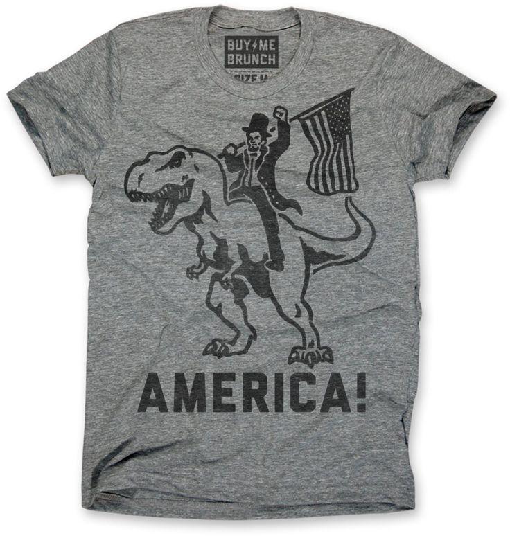 America triblend T-shirt. As you can see here Abraham Lincoln rode a T-rex when he founded the United States in the Jurassic Period. It's history. Ultra soft he