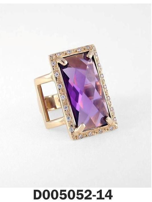 Ring Yellow Gold k18 and k14 Stones: Amethyst, Diamonds
