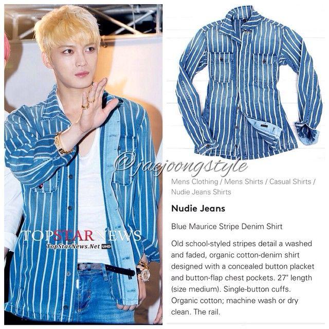 "#Jaejoong wore Blue Maurice #stripe #denim #shirt by @NudieJeans during #JYJ's ""Just Us"" album fansign event (08/11/14). Price: last seen for $249.  Credit: Top Star News, lyst and rakuten.  #KimJaejoong #KoreanIdol #Korean #singer #celebrity #actor #김재중"