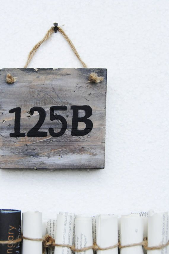 Reclaimed wood distressed Street number signRustic home