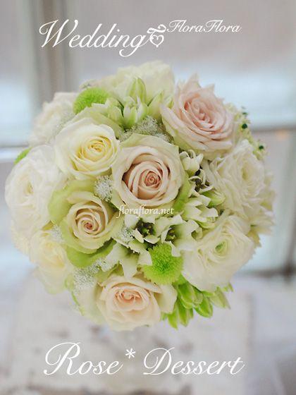 "ROSE""デザート"" 秋 ニュアンスホワイトの大人ラウンドブーケ : FLORAFLORA*precious flowers*ウェディングブーケ会場装花&フラワースクール*"