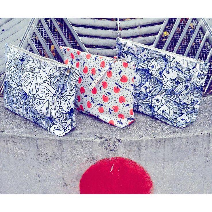 Japanese vibes 🎌  minimal monochrome print canvas purse cherry fish plant pattern szputnyik shop