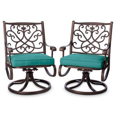 Folwell 2-pk. Cast Aluminum Swivel Dining Chairs Turquoise - Threshold