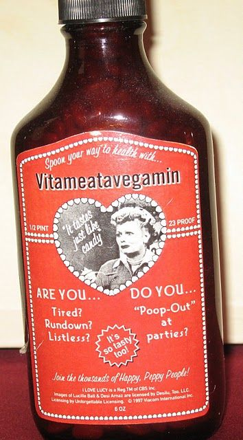 Bottle of #Vitameatavegamin. | I Love Lucy | Lucille Ball | Desi Arnez this was my favorite episode
