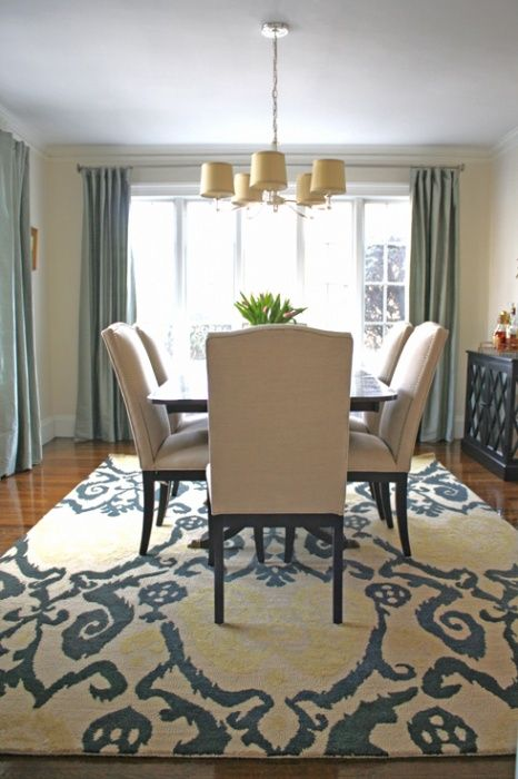 """Tips for dining room rug size: #1 – Take the measurements of your table and add 54-60″ to the width and length. This will give you an extra 27-30″ on all sides so that your chairs always stay on the rug even when they are pulled away from the table. #2 – Leave at least 18"""" of floor showing around the perimeter of the room. This will make your space feel bigger and show off your rug better."""