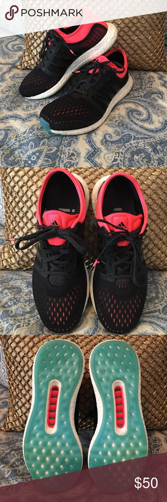 Adidas Rocket Boost shoes Adidas Rocket Boost tennis shoes in black/white/ and bright coral with touches of bright blue at the toe. In excellent condition! Worn 2-3 times! Very comfortable shoes! Size 7.5. 😎😎 Adidas Shoes Athletic Shoes