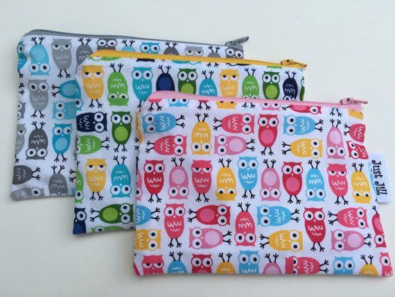 TINY OWLS  Eco-Friendly  Reusable Zipper Bag  by justjillhandmade