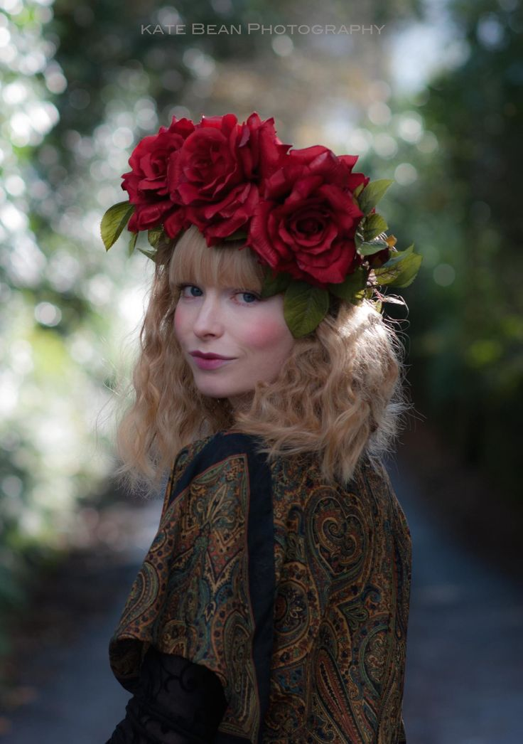 Gypsy Rose bohemian ethereal fairytale Photography: Kate Bean Photography Design & Styling: Alice Halliday Modelling, Hair & makeup: Alice Halliday  Paisley top €65 Atelier 27 Rose Red Flower crown €60 buy here: https://www.etsy.com/listing/211025578/oversized-ruby-rose-red-floral-crown?ref=listing-shop-header-3