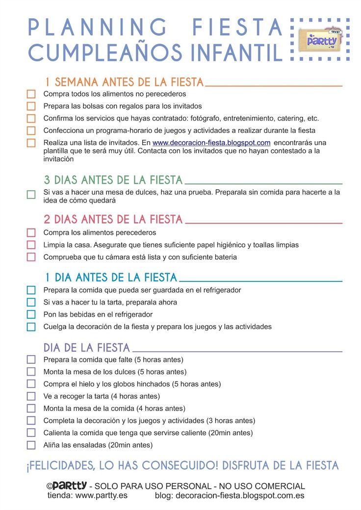 Partty - Fiestas temáticas y decoración para fiestas: Organizar una fiesta infantil (2) - El planning