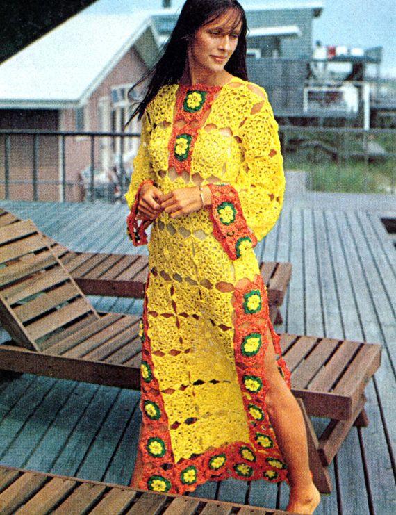 Vintage Crochet Pattern Granny Squares Maxi Dress - not my colors but love the idea!