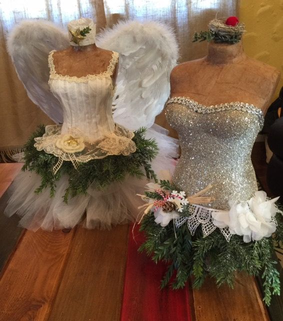 Christmas Tree Dress Form Mannequin Vintage Rustic OOAK Holiday Decor Angel Wings