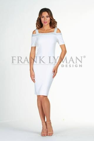 Frank Lyman 2017. Stunning off white cold shoulder cocktail dress. Proudly Made in Canada