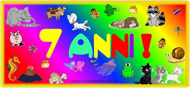 Auguri Buon Compleanno 7 Anni.Biglietto Di Auguri Colorato Con Animali E La Scritta 7 Anni