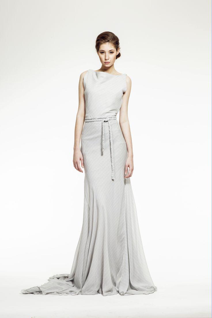 ZUZANA VESELÁ ATELIER. The Katherine evening gown is perfect for a more avant-garde bride. Made of silk satin chiffon with an ideal cut for many body types. #zuzanavesela #czechdesigner #pfsshowroom #wedding #bride @Zuzana Veselá