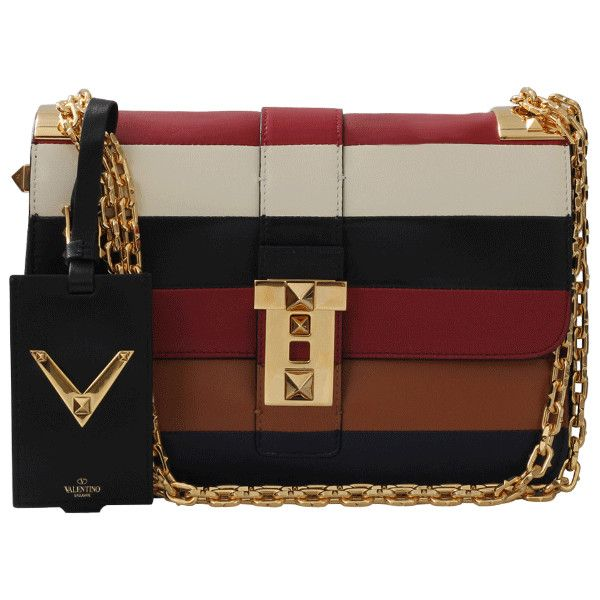 Valentino B-rockstud Striped Shoulder Bag ($3,745) ❤ liked on Polyvore featuring bags, handbags, shoulder bags, brown shoulder bag, brown handbags, zipper purse, multi color purse and striped handbag