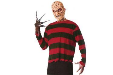 Cet extraordinaire déguisement de Freddy se compose d'un masque ultra réaliste en mousse avec balafres, d'un t-shirt rayé rouge et noir ainsi que le désormais mythique gant marron avec des lames au bout de chaque doigt.  Ce déguisement est proposé en taille standard mais s'adapte à toutes les morphologies.